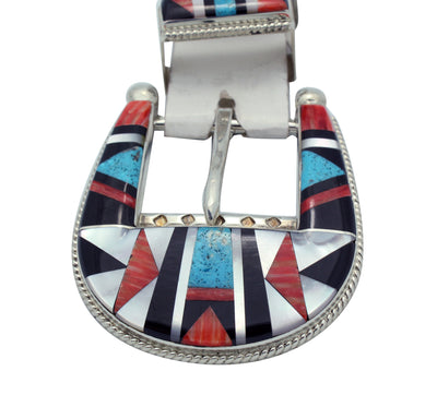 Load image into Gallery viewer, Stanford, Diane Cooche, Ranger Buckle, Shell, Jet, Turquoise, Zuni Made, 2.25