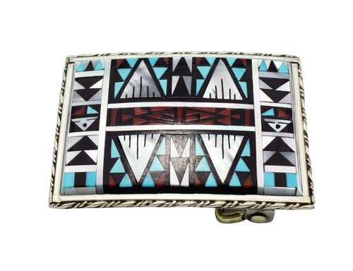 Sylvester Boone, Buckle, Multi Stone Mosaic Inlay, Silver, Zuni Handmade, 1.9