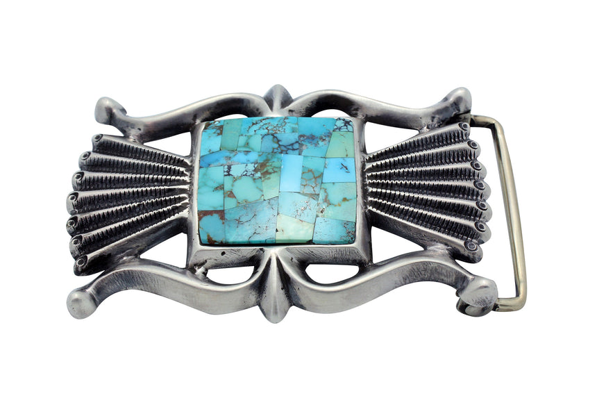 Carole, Wilson Begay, Buckle, Sandcast, Turquoise, Silver, Navajo Handmade, 2.25