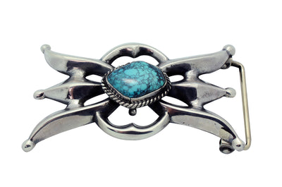 Load image into Gallery viewer, Carole, Wilson Begay, Buckle, Sandcast, Spider Web Turquoise, Navajo Made, 2.25