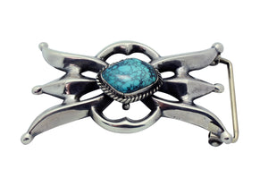 Carole, Wilson Begay, Buckle, Sandcast, Spider Web Turquoise, Navajo Made, 2.25