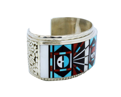 Load image into Gallery viewer, Ricky, Lucy Vacit, Bracelet, Mosaic Inlay, Sunface, Silver, Zuni Handmade, 7