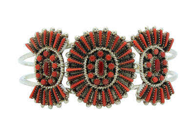 Load image into Gallery viewer, Shirley Lahi, Bracelet, Mediterranean Coral, Needlepoint, Zuni Handmade, 6 7/16""
