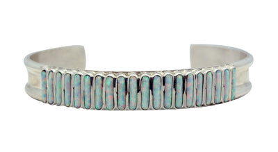 Load image into Gallery viewer, Lucy Sheyka, Bracelet, Synthetic Opal, Sterling Silver, Zuni Handmade, 6.5