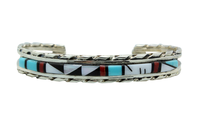 Quinton Bowannie, Bracelet, Multi Stone Inlay, Sterling Silver, Zuni Made, 6