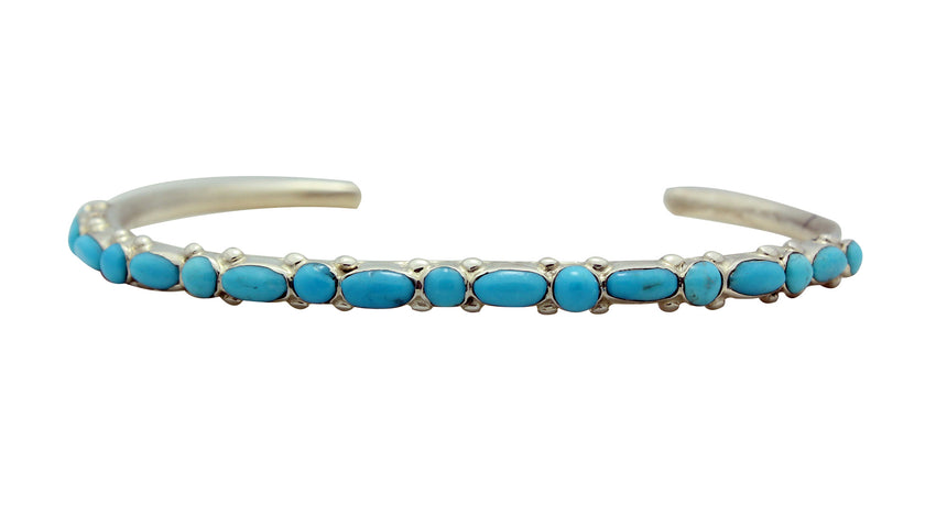 Elvira Kiyite, Narrow Bracelet, Sleeping Beauty Turquoise, Zuni Handmade, 6.5