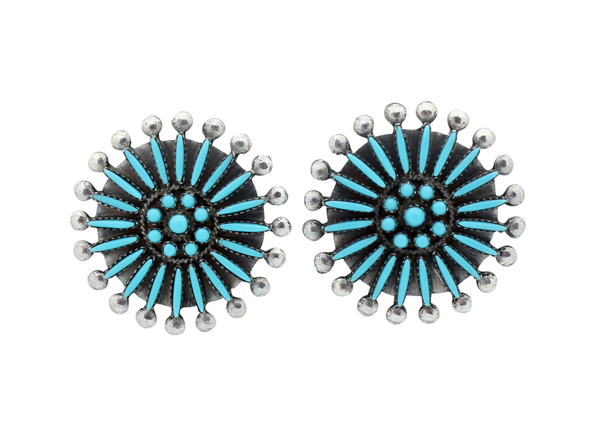 Sibert Bowannie Sr, Earring, Sleeping Beauty Turquoise, Cluster, Zuni Made, 1.4