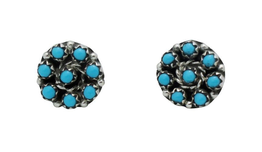 Randy Hooee, Zuni Handmade Pierced Earrings, Sleeping Beauty Turquoise, .75