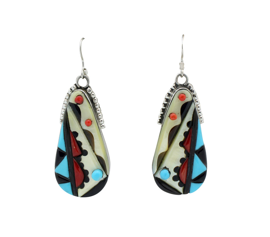 Virginia Quam, Earrings Multi Stone Inlay, Sterling Silver, Zuni Handmade, 2.5