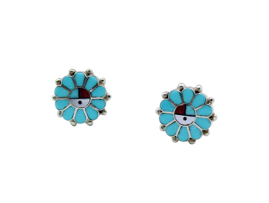Maxine Soseah, Post Earrings, Sunface, Turquoise, Shell, Coral, Jet, Zuni, .6