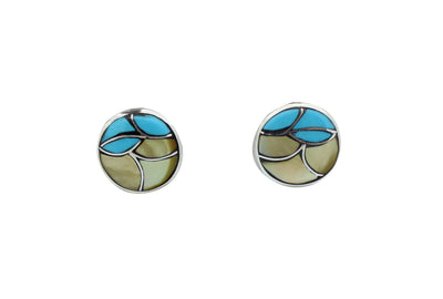 Load image into Gallery viewer, Orena Leekya, Post Earrings, Fish Scale Inlay, Shell, Turquoise, Zuni Made, .6