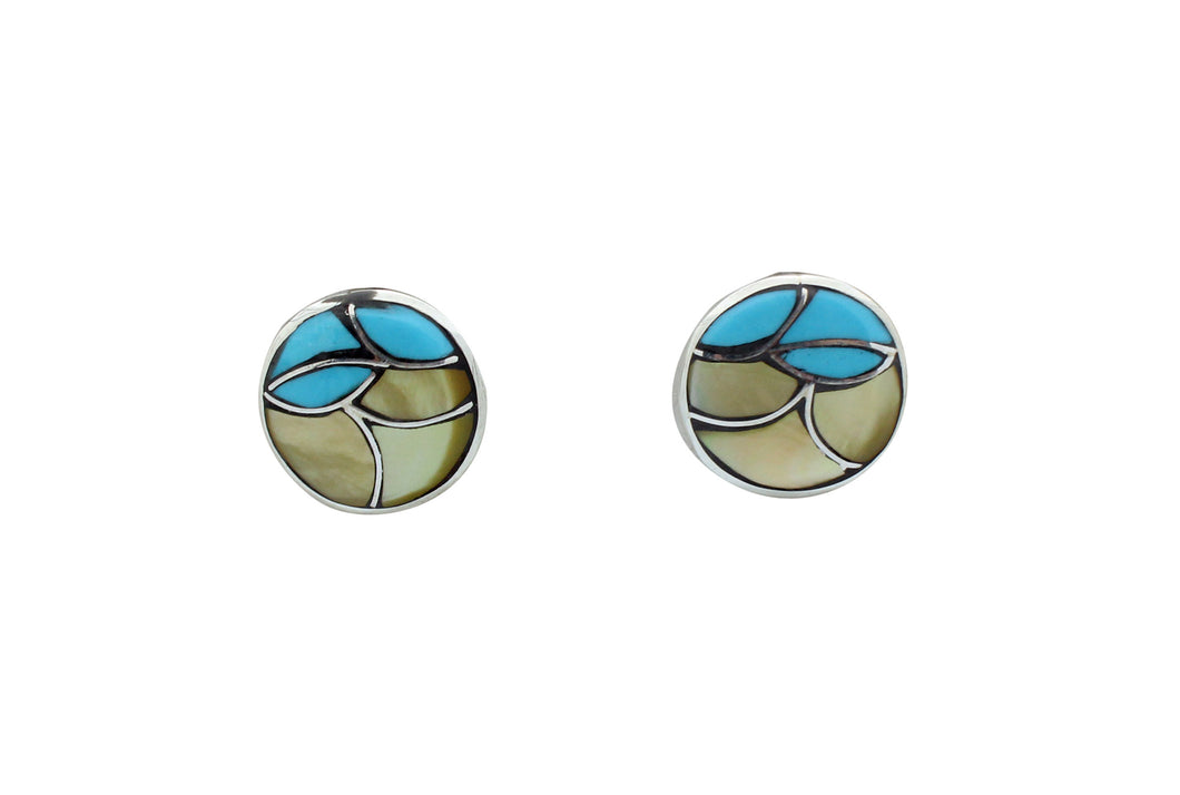 Orena Leekya, Post Earrings, Fish Scale Inlay, Shell, Turquoise, Zuni Made, .6