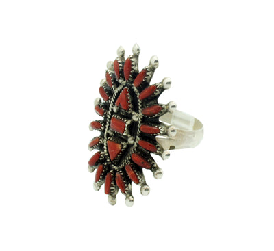 Load image into Gallery viewer, Evonne Hustito, Ring, Red Mediterranean Coral, Needlepoint, Cluster, Zuni, 10.5