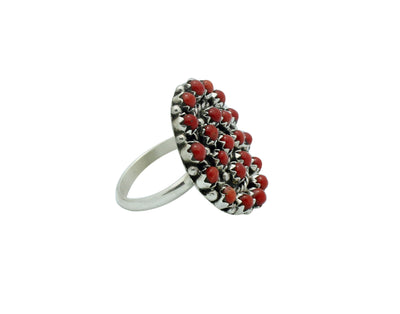 Load image into Gallery viewer, Randy Hooee, Ring, Mediterranean Coral, Silver, Petit Point, Zuni Handmade, 6