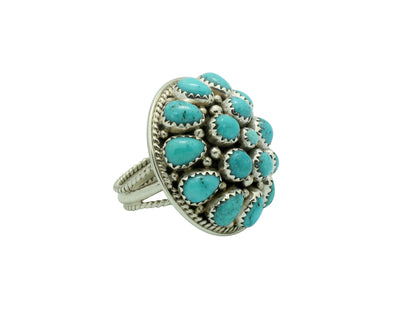 Load image into Gallery viewer, Nora Tsosie, Ring, Kingman Turquoise, Cluster, Sterling Silver, Navajo Made, 8.5
