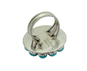 Nora Tsosie, Ring, Kingman Turquoise, Cluster, Sterling Silver, Navajo Made, 8.5