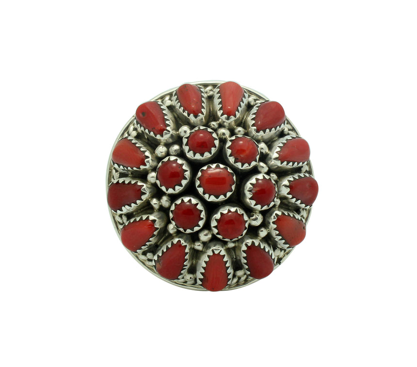 Nora Tsosie, Ring, Mediterranean Coral, Cluster, Sterling Silver, Navajo, 9.5