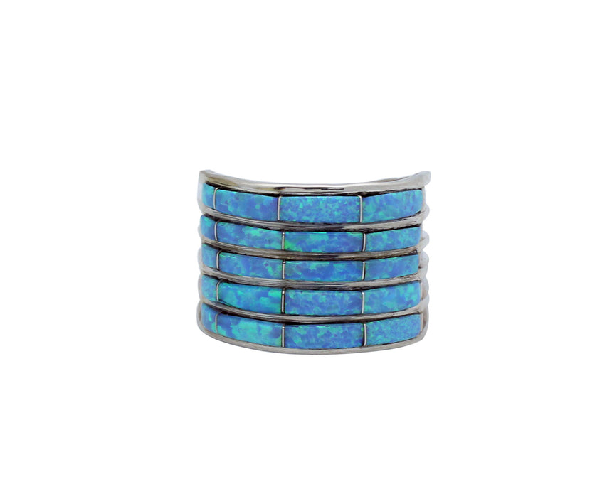 Zuni Handmade Ring, Synthetic Opal Inlay, Five Rows, Silver, Handmade, ALW, 10