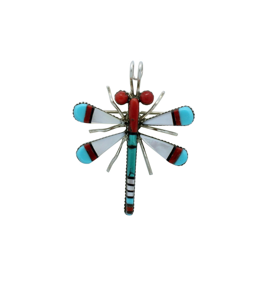 Zuni Handmade Pin, Pendant, Dragonfly, Shell, Jet, Coral, Turquoise, Silver, 2