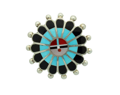 Load image into Gallery viewer, April Unkestine, Pin, Pendant, Shell, Turquoise, Jet, Coral, Zuni Handmade, 1.25