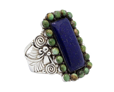 Load image into Gallery viewer, Ben Begaye, Bracelet, Cluster, Lapis, Turquoise, Silver, Navajo Handmade, 6.25