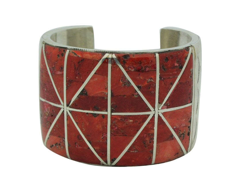Mary Morgan, Bracelet, Wide, Mediterranean Coral, Channel Inlay, Navajo, 6 1/4