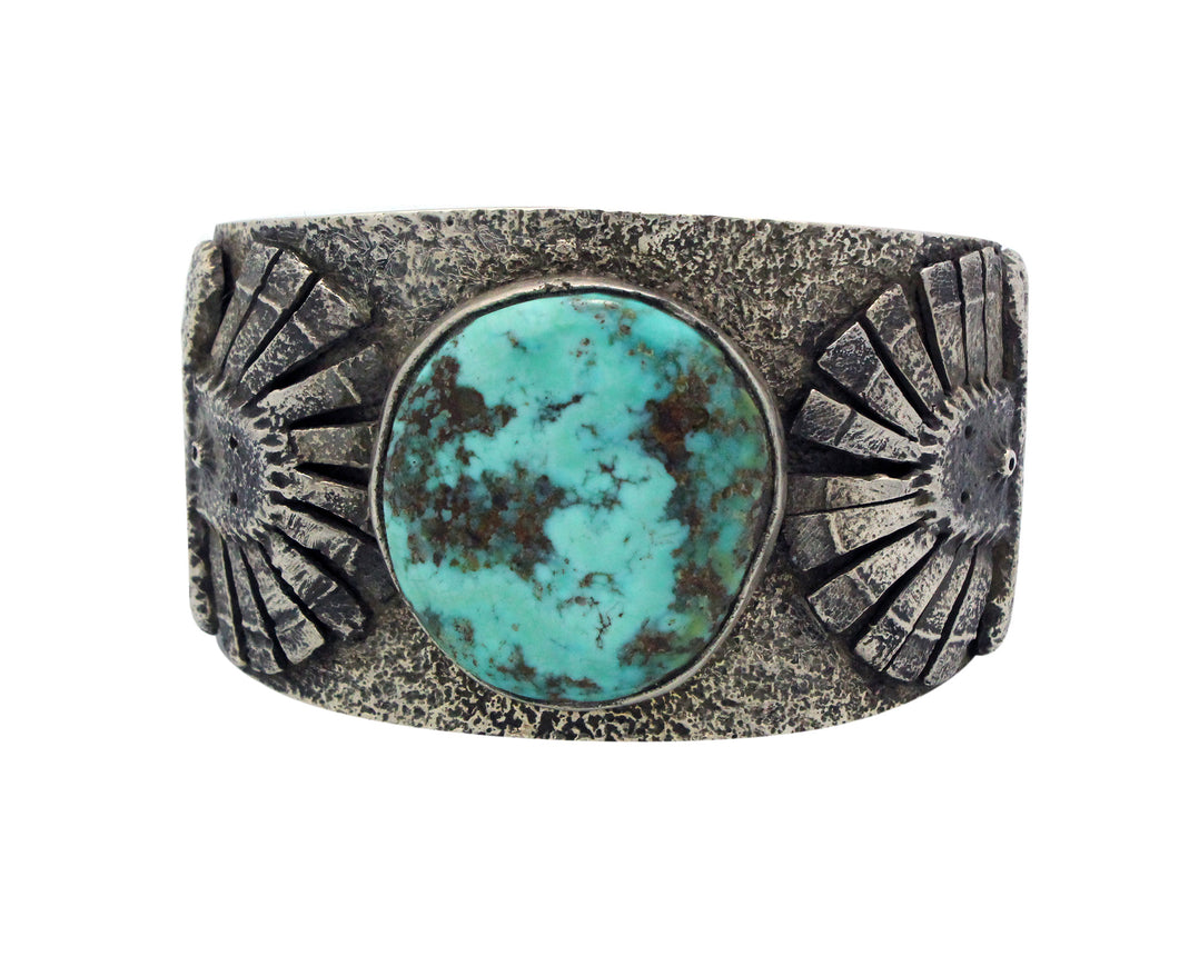 Philander Begay, Bracelet, Candelaria Turquoise, Two Yei' Faces, Navajo, 6.5