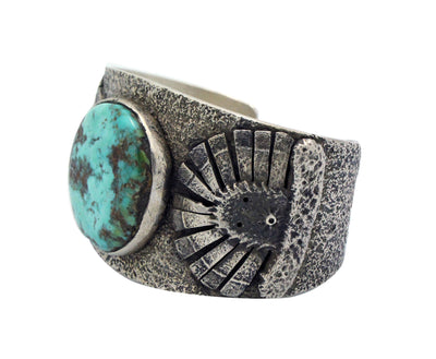 Load image into Gallery viewer, Philander Begay, Bracelet, Candelaria Turquoise, Two Yei' Faces, Navajo, 6.5