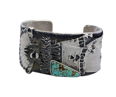 Load image into Gallery viewer, Philander Begay, Bracelet, Shalako, Number Eight Turquoise, Navajo Made, 6.5