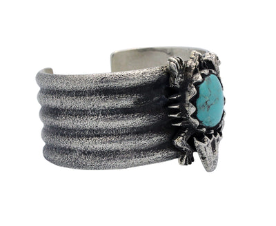 Load image into Gallery viewer, Philander Begay, Tufa Bracelet, Horned Toad, Turquoise, Navajo Handmade, 6.5