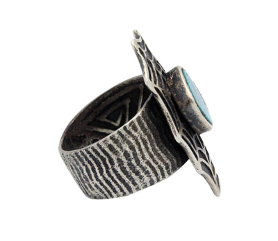 Load image into Gallery viewer, Philander Begay, Ring, Turquoise, Spider Web, Silver, Navajo Handmade, 12
