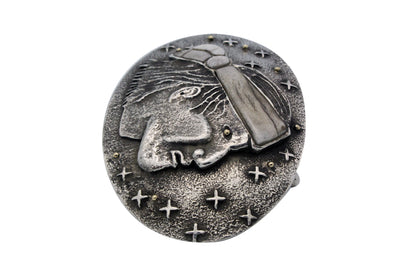 Load image into Gallery viewer, Philander Begay, Buckle, Navajo Man, Antler Sterling Silver, Handmade, 3.5