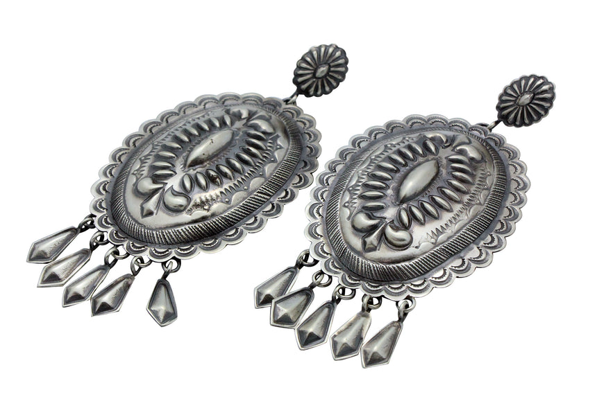 Thomas Charlie, Pierced Earrings, Dangle, Silver, Stamping, Navajo Made, 3.5