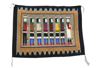 "Load image into Gallery viewer, Anna Grey, Yei Bi Chei Rug, Navajo, Handwoven, 34.5"" x 47"""