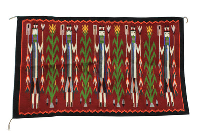 "Load image into Gallery viewer, Rena John, Yei Bi Chei Rug, Orange, Black, Navajo, Handwoven, 55"" x 32"""