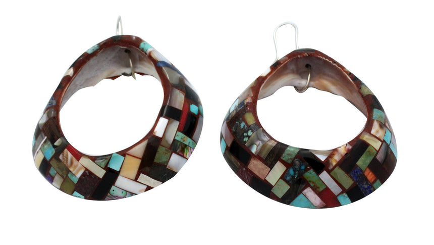 Bryan Tom, Shell Earrings, Multi Stone, Navajo, San Felipe, Handmade, 3.5