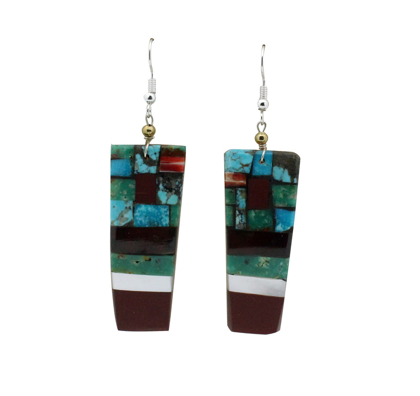 Bryan Tom, Earrings, Rectangle Dangles, Navajo, San Felipe, Handmade, 3