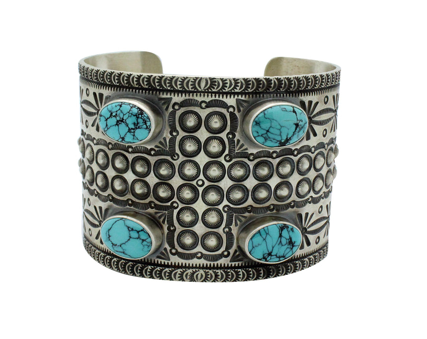 Herman Smith, Bracelet, Chinese Turquoise, 4 Direction, Navajo Handmade, 6 7/8