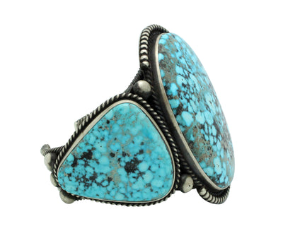 Load image into Gallery viewer, Herman Smith, Bracelet, Kingman Turquoise, Silver, Navajo Handmade, 6.75