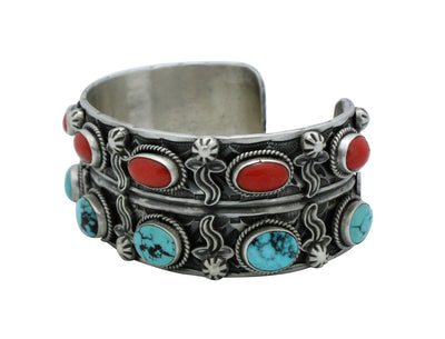 Load image into Gallery viewer, Bo Reeves, Bracelet, Turquoise, Mediterranean Coral, Stamping, Navajo Made, 7