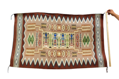"Load image into Gallery viewer, Rose Bia, Yei Storm Pattern, Navajo Handwoven, 60""x 35"""