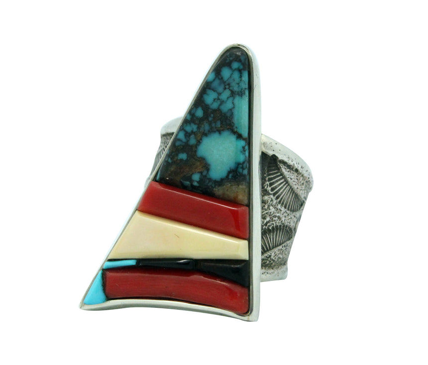 Bryan Tom, Ring, Turquoise, Iron Wood, Coral, Turquoise, Navajo Handmade, 10