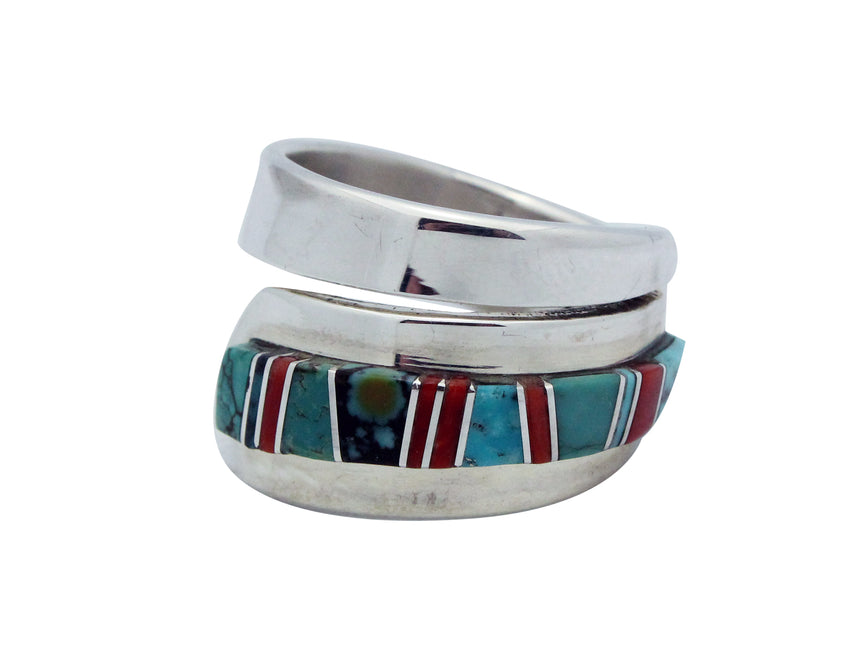Edward Becenti, Ring, Coral, Turquoise, Silver, Navajo Handmade, Adjustable