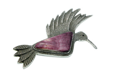 Load image into Gallery viewer, Lee Begay, Pin, Pendant, Hummingbird, Purple Spiny Oyster Shell, Navajo Handmade, 2.75