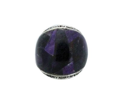 Load image into Gallery viewer, Lester James, Ring, Inlay, Wide, Purple Sugilite, Silver, Navajo Handmade, 7