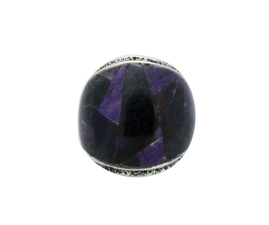 Lester James, Ring, Inlay, Wide, Purple Sugilite, Silver, Navajo Handmade, 7