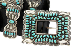 Larry Moses Begay, Concho Belt, Kingman Turquoise, Circa 1980s, Navajo