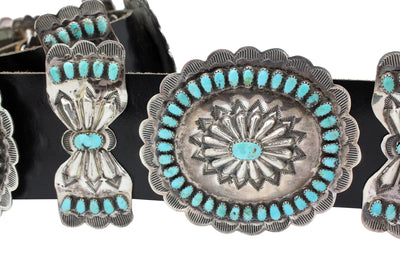 Load image into Gallery viewer, Larry Moses Begay, Concho Belt, Kingman Turquoise, Circa 1980s, Navajo