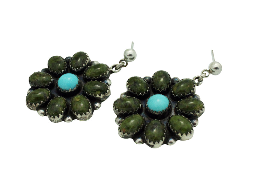 Matthew Perry, Dangle Earrings, Turquoise, Silver, Navajo Handmade, 1.5