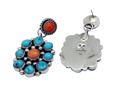 Load image into Gallery viewer, Melvin, Tiffany Jones, Earring, Turquoise, Spiny Oyster, Navajo Handmade, 2